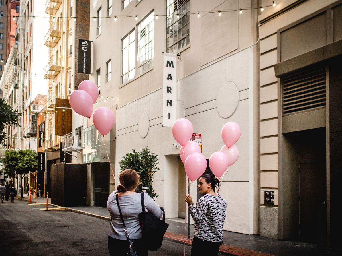 Pink Balloons on Maiden Lane | Photo by Carla Gabriel Garcia