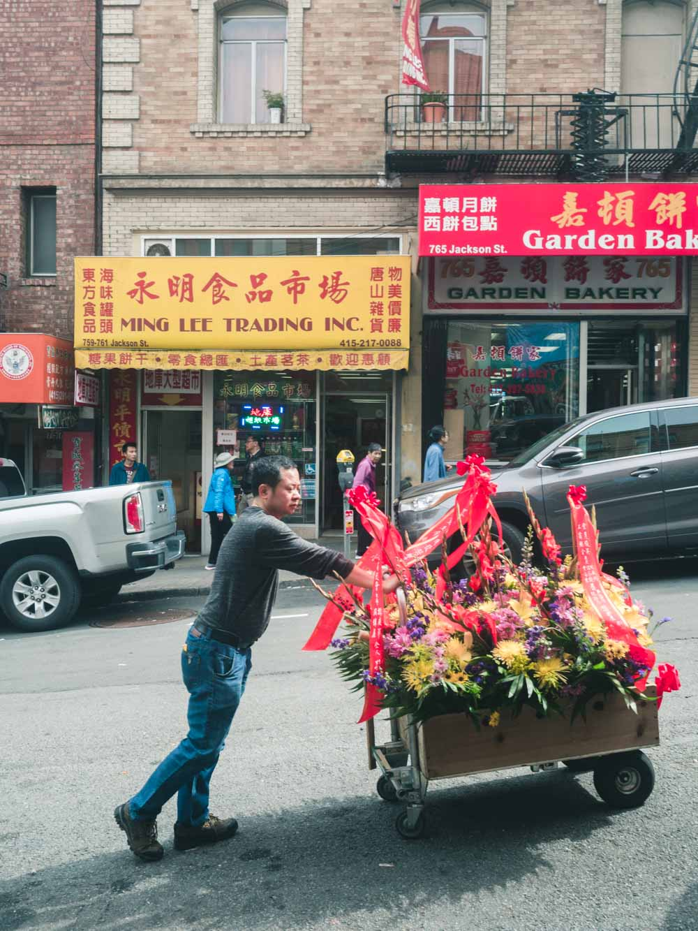 Man Pushing Flower Cart in Chinatown, San Francisco | Carla Gabriel Garcia